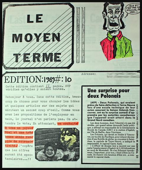 """Une section de la page titre de mon journal """"Le Moyen Terme"""""""