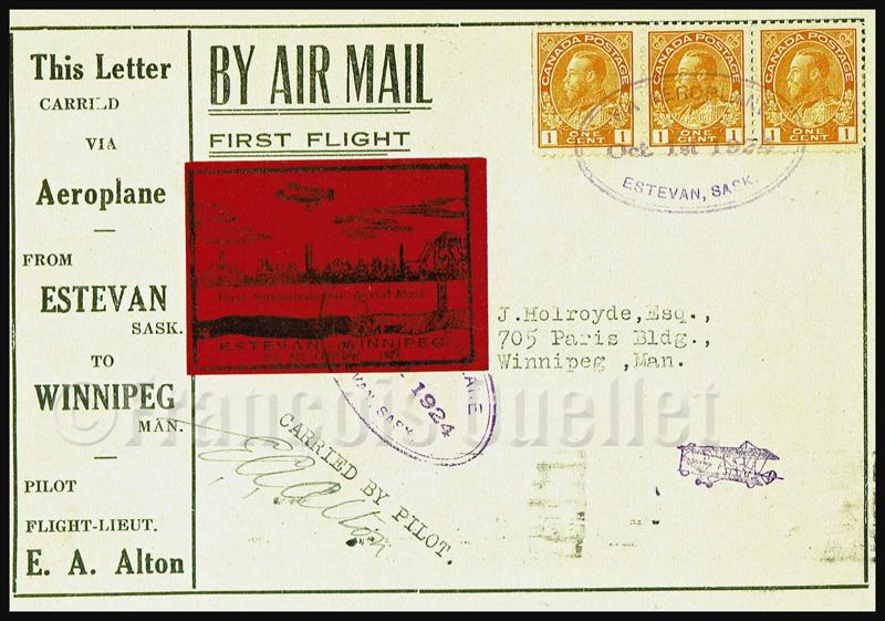 Poste aérienne Estevan Winnipeg CLP5 timbre semi-officiel