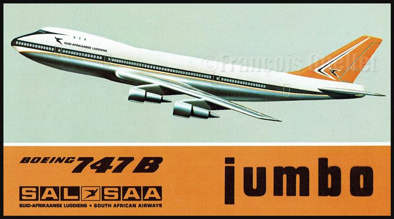 """Boeing 747B """"Lebombo"""" de la Suid-Afrikaanse Lugdiens -South African Airways. Cette carte était inclue dans l'enveloppe de poste aérienne lors du premier vol du 10 décembre 1971 entre Johannesburg et Londres."""