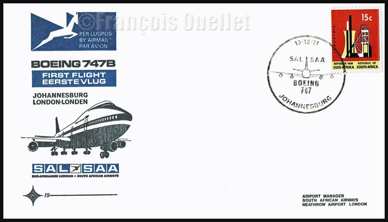 10 décembre 1971. Enveloppe de poste aérienne commémorant le premier vol d'un Boeing 747B de la SAL / SAA de Johannesburg vers Londres