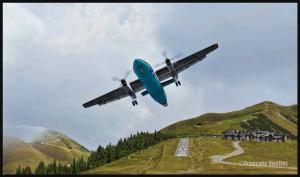 Un avion DHC-8-202Q propriété de Sat Airlines Sakhalin Energy quitte la piste de Peyresourde Balestas