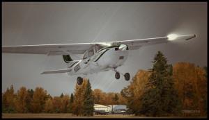 C182T au décollage de l'aéroport de Parry Sound en Ontario, Canada.