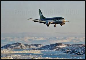 B-737 de la compagnie Aer Lingus en finale pour Iqaluit en 1990