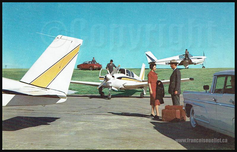 Passagers et unBeechcraft Model 33 Debonair 1960 sur carte postale