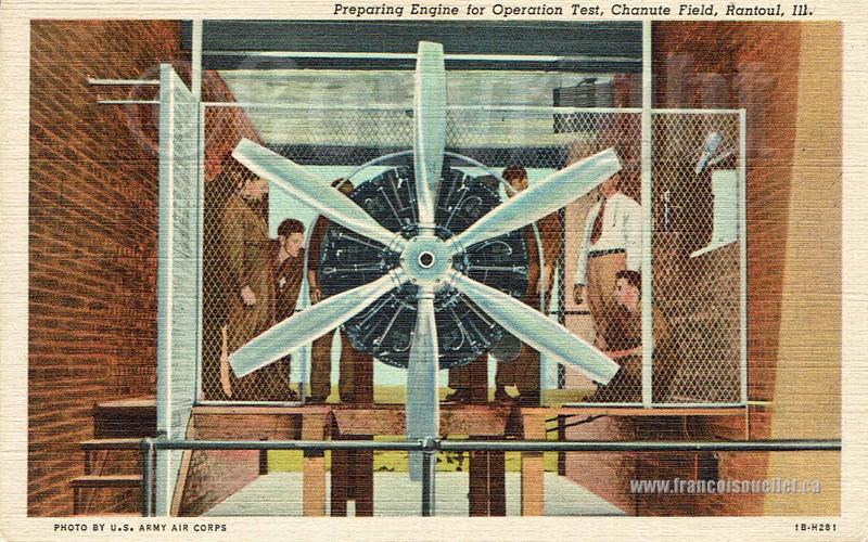 Personnel militaire et moteur d'avion sur carte postale