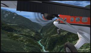 Un avion Twin Otter est en descente de Syangboche pour la piste de Lukla