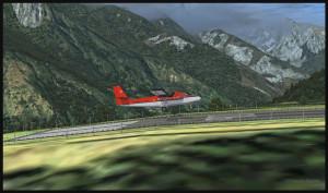 Un avion Twin Otter se prépare à atterrir sur la piste 06 de Lukla