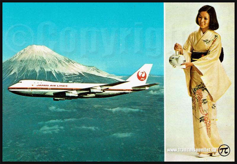 Japan Air Lines Boeing 747 devant le Mont Fuji avec geisha sur carte postale aviation