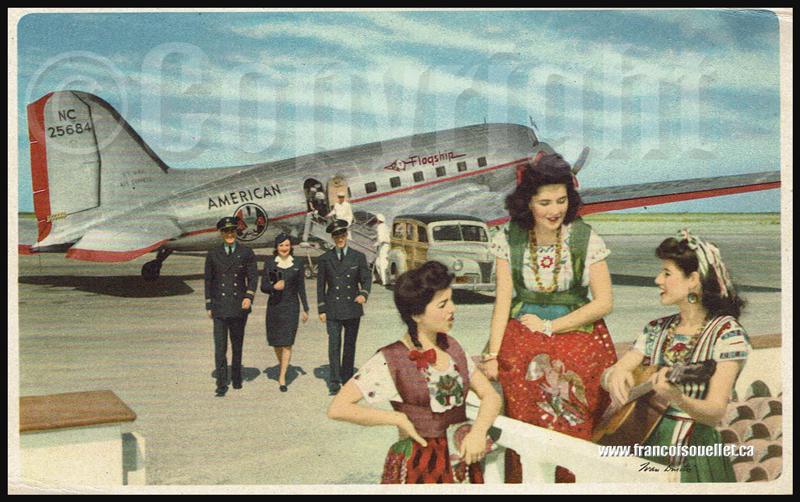American Flagship DC-3 et équipage au Mexique sur carte postale aviation