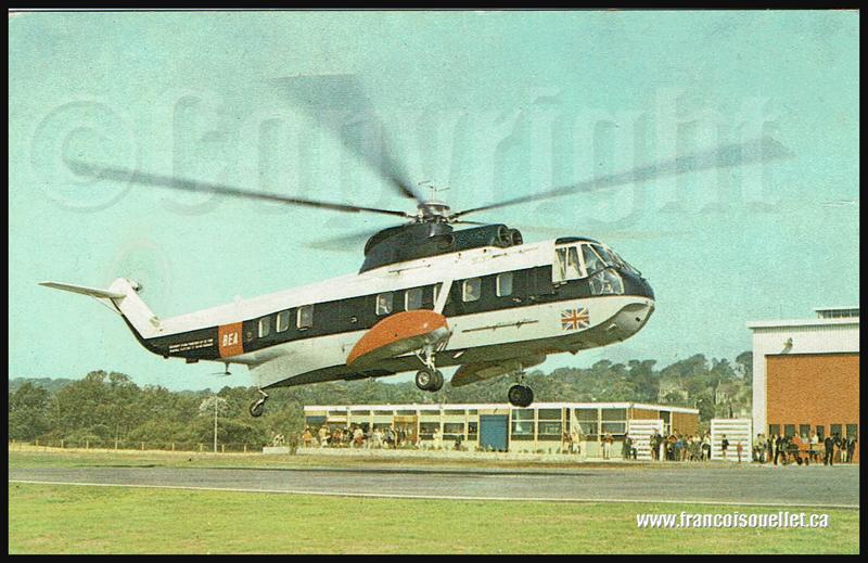 BEA Sikorsky S61N à l'héliport de Penzance, région de Cornwall, Angleterre sur carte postale aviation (vers 1970)
