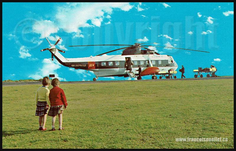 Enfants, pilote, personnel autour d'un hélicoptère de la compagnie BEA sur carte postale aviation