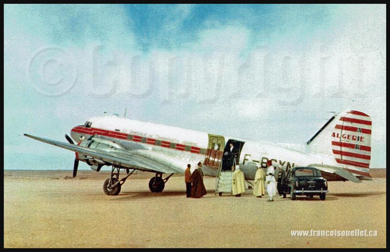 Algériens et un DC-3 d'Air Algérie sur carte postale aviation