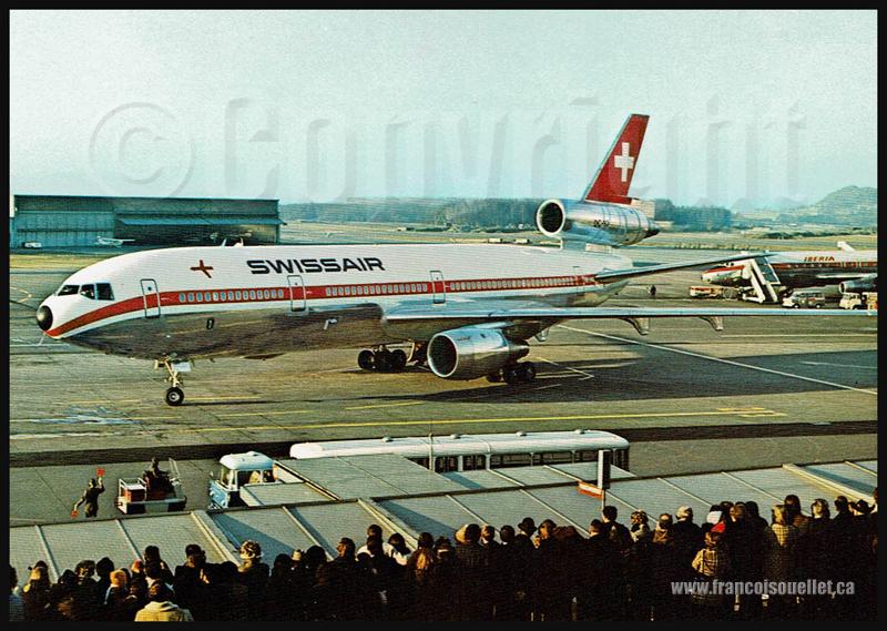 DC-10 de Swissair et DC-8 d'Iberia sur carte postale aviation