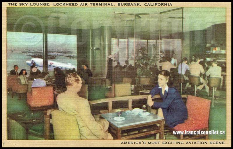 Sky Lounge, Lockheed Air Terminal sur carte postale aviation
