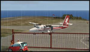 30321 Un avion Twin Otter sur la rampe à Saba (FSX)