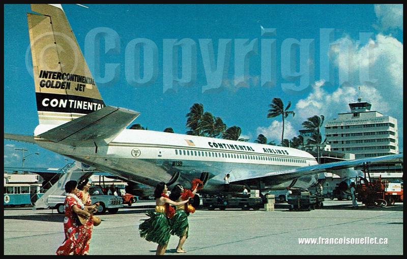 Continental Airlines à Hawaii sur carte postale aviation.