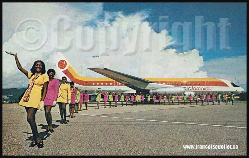 Femmes et Air Jamaica DC-8 Super 62 sur carte postale aviation
