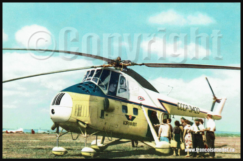 Passengers et helicoptère MI-4 de Aeroflot sur carte postale aviation