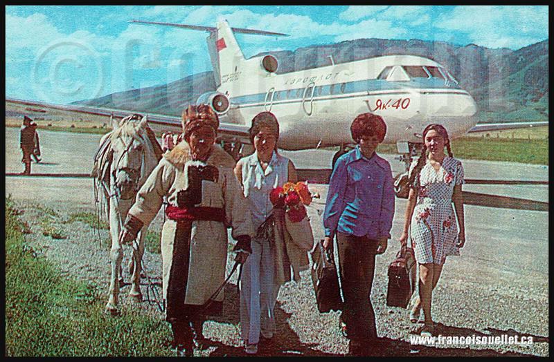 Population et Aeroflot Yak 40 sur carte postale aviation