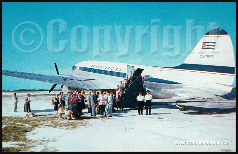 Passagers et Aerovias Q SA Cuba sur carte postale aviation