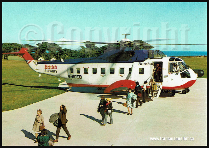 Passagers et hélicoptère British Airways sur Isles of Scilly sur carte postale aviation