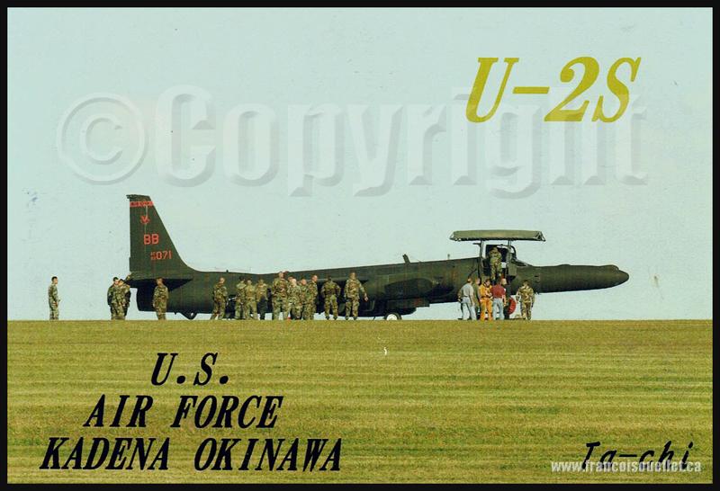 Militaires américains et U-2S à Okinawa sur carte postale aviation