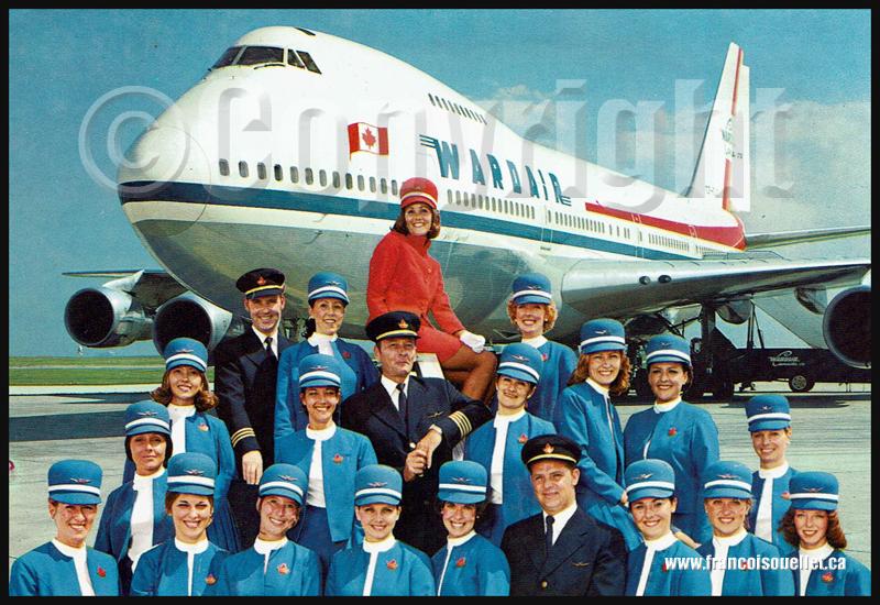 Wardair B-747 et équipage sur carte postale aviation