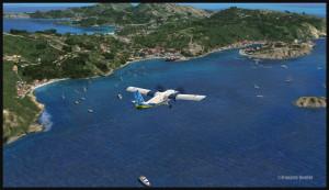 40014 Piste de St Barths TFFJ en vue à gauche et au milieu de l'île (FSX)