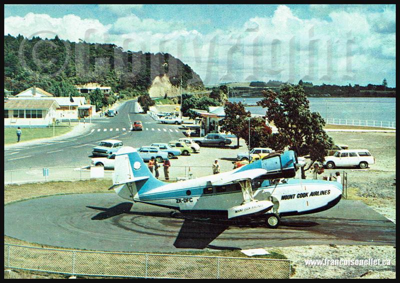 Grumman Goose de Mount Cook Airlines en Nouvelle-Zélande sur carte postale aviation