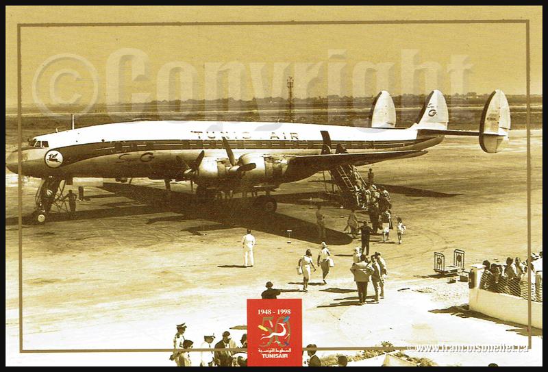 Constellation et passagers de Tunisair sur carte postale aviation