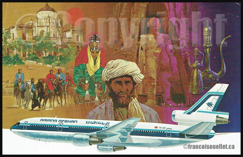 DC-10 Ariana Afghan sur carte postale aviation