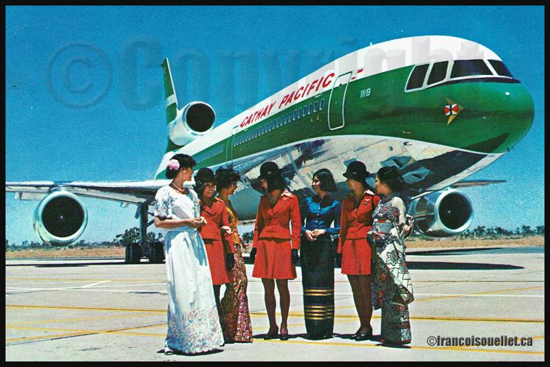 Cathay Pacific Hong-Kong L-1011 et femmes asiatiques sur carte postale aviation