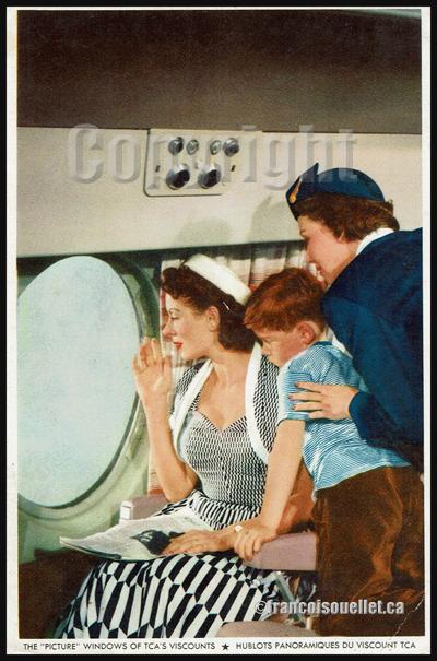 Hublots panoramiques du Viscount de Trans-Canada Air Lines (carte postale aviation)