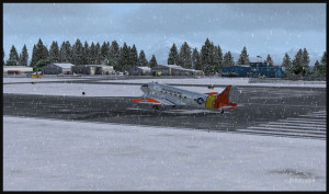 DC-3 sur l'aéroport virtuel de Homer (PAHO) en Alaska (FSX)