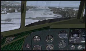 Vue du cockpit d'un DC-3 virtuel en finale pour la piste de glace de Homer (PAHO) en Alaska (FSX)