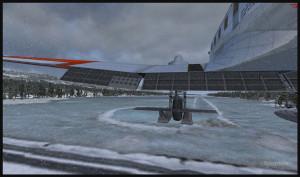 DC-3 virtuel sur skis au point de toucher le seuil de la piste de glace de Homer en Alaska (FSX)