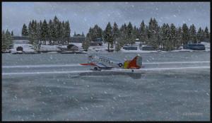 Un DC-3 virtuel sur skis après un atterrissage sur la piste de glace de Homer (PAHO) en Alaska (FSX)