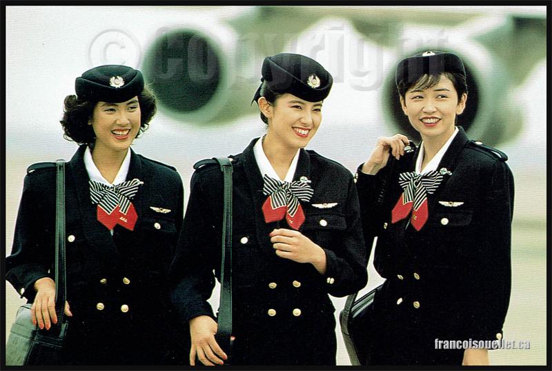 Agentes de bord de Japan Air Lines sur carte postale aviation