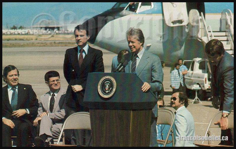 Le président américain Jimmy Carter et Air Force One en Californie en 1977 sur carte postale aviation