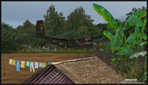 Un DHC-4 Caribou virtuel au sol sur la piste d'Asimba (ASB) en Papouasie Nouvelle-Guinée PNG (FSX)