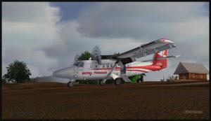 Un DHC-6 Twin Otter virtuel au sol sur la piste de Yongai (KGH) en Papouasie Nouvelle-Guinée PNG (FSX)