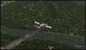 Un DHC-6 Twin Otter virtuel avec le moteur droit en feu au décollage de Yongai en Papouasie Nouvelle-Guinée PNG (FSX)