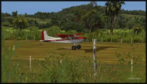 Un Cessna C-185F virtuel à l'atterrissage sur la piste de Kosipe (KSP) en Papouasie Nouvelle-Guinée PNG (FSX)