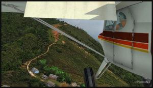 Un Piper Pacer virtuel en approche pour la piste courbée d'Ononge (ONB) en Papouasie-Nouvelle Guinée PNG (FSX)