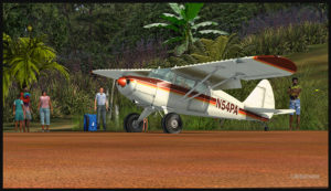 A Virtual Piper Pacer on the Ononge curved runway in Papua New Guinea PNG (FSX)