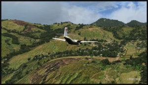 Un DHC-4 Caribou en approche finale pour l'aéroport de Tapini (TAP) en Papouasie Nouvelle-Guinée PNG (FSX)