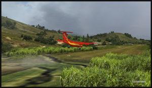 Un De Havilland DHC-7 virtuel en approche finale pour l'aéroport virtuel de Woitape airport (WTP) en Papouasie Nouvelle-Guinée (FSX)