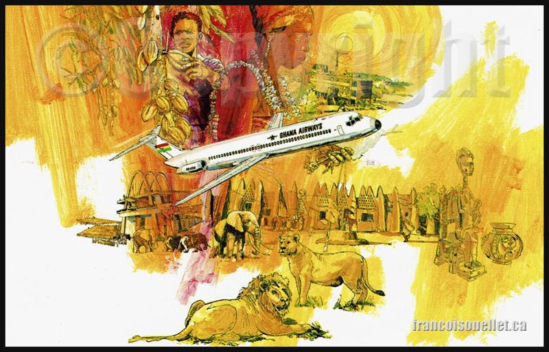 Ghana Airways DC-9-50 sur carte postale aviation