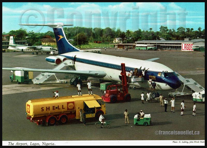 Aéroport de Lagos, Nigeria, et personnel au sol sur carte postale aviation
