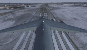 Avion militaire canadien C17-A prêt pour le décollage piste 10 à l'aéroport virtuel de Block Island (KBID) aux États-Unis (FSX)